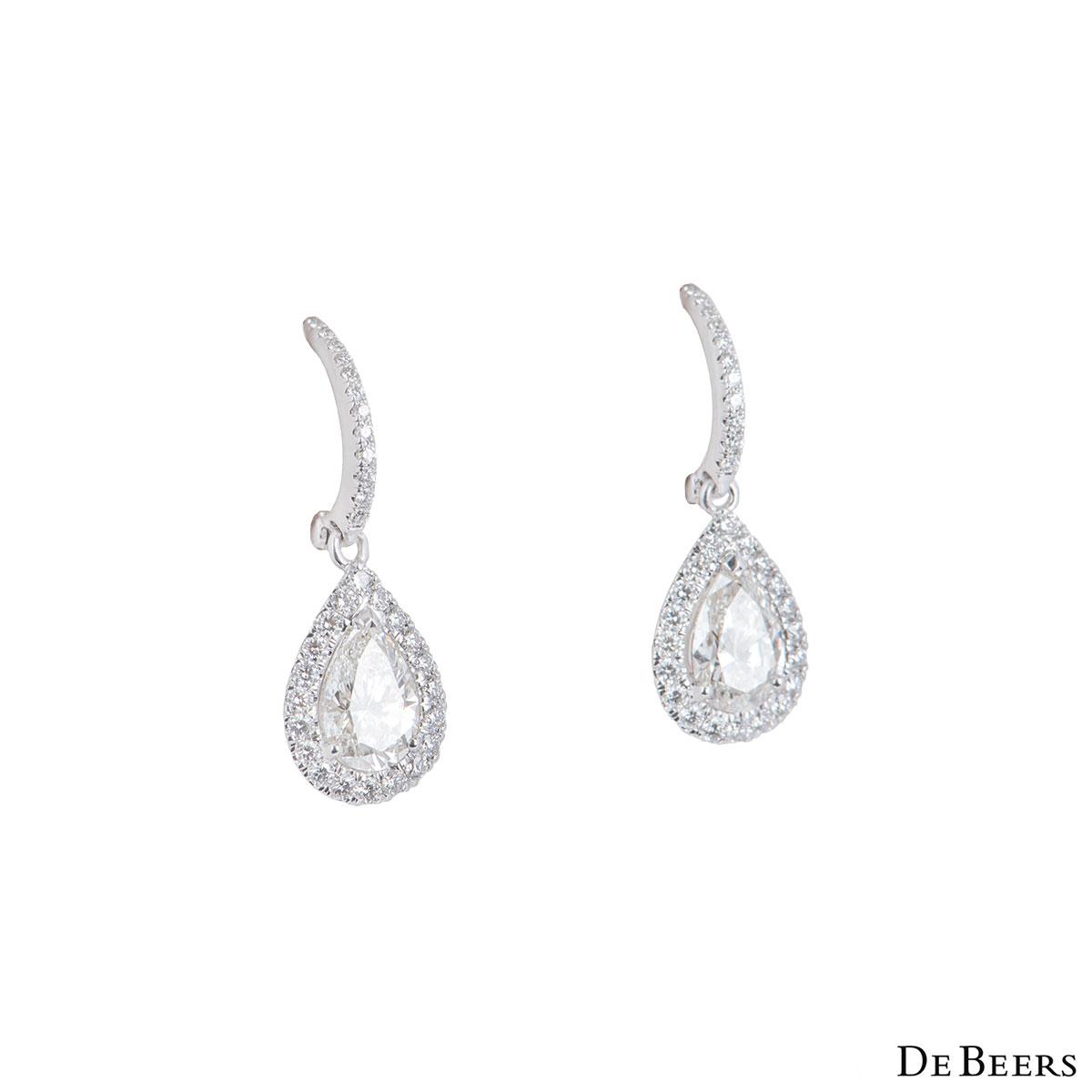 De Beers White Gold Diamond Aura Earrings